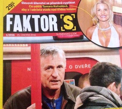Titulní strana nového týdeníku Faktor S.