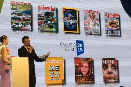 Prezident Unie vydavatelů Tomáš Tkačík při vyhlašování Časopisu roku.