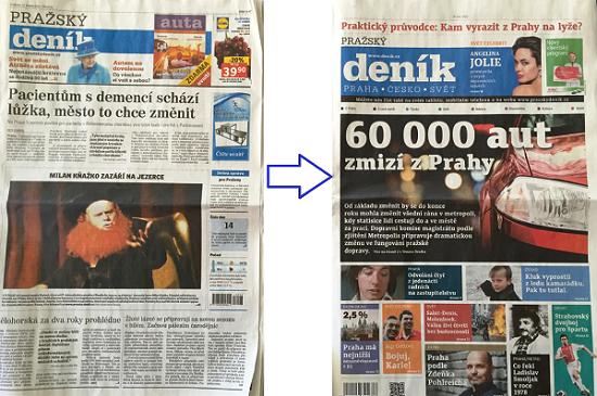 Vlevo stávající podoba Pražského deníku, vpravo nová podoba.