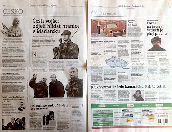 Vnitřní strany nového Pražského deníku.