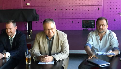 Vedení VLP na tiskové konferenci. Zleva: Milan Mokráň, Michal Klíma a Roman Gallo.