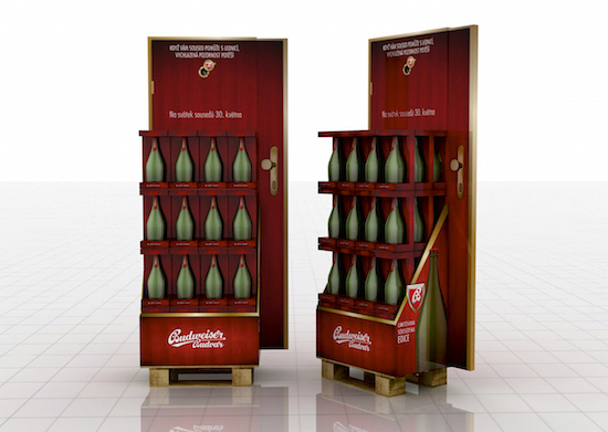 Cartoons display Budweiser Budvar
