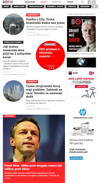 Home page zpravodajského portálu Dotyk.cz.