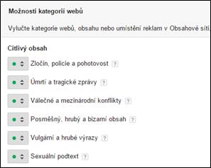 Ukázka kategorizace webů v Google Adwords.