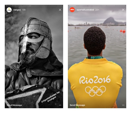 Příklady funkce Stories na Instagramu v podání National Geographic a Sports Illustrated