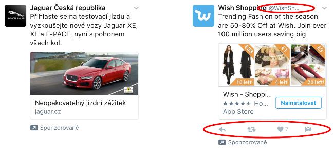 Porovnání tweetů firem s profilem(vpravo) a bez profilu (vlevo).