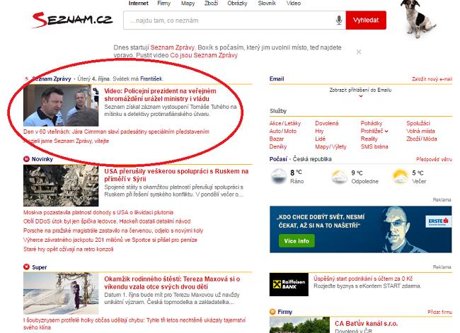 Zařazení Seznam Zpráv na home page.