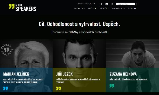 Náhled webu platformy Sport Speakers