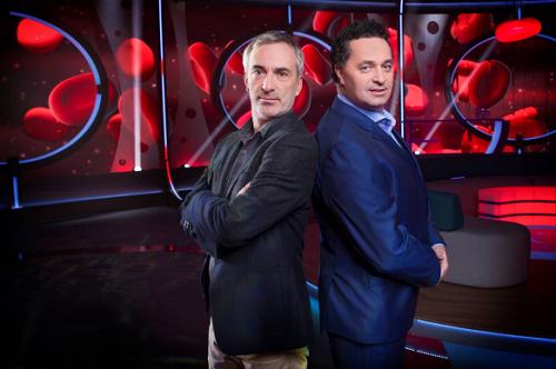 Petr Vacek a Martin Dejdar v pořadu Tajemství těla, foto: Česká televize