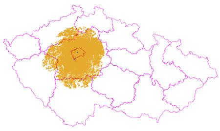 Stávající pokrytí přechodové sítě DVB-T2.