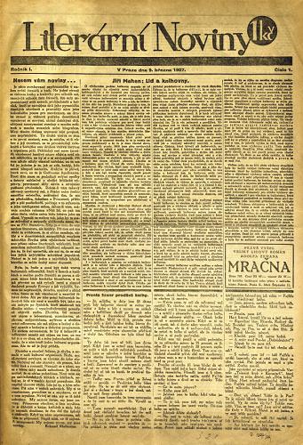 První vydání Literárních novin v roce 1927