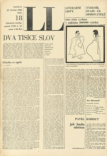 Vydání Literárních novin z června 1968