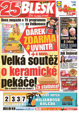 Titulní strana deníku Blesk 13.4. 2017