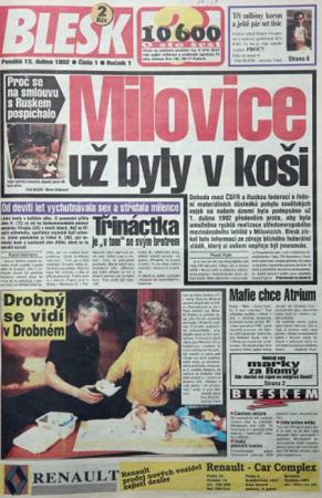 První vydání deníku Blesk, 13. dubna 1992