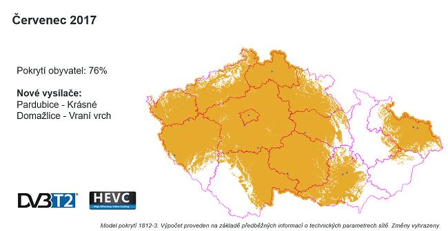 Pokrytí přechodové sítě DVB-T2, stav k červenci 2017. Zdroj: ČRa