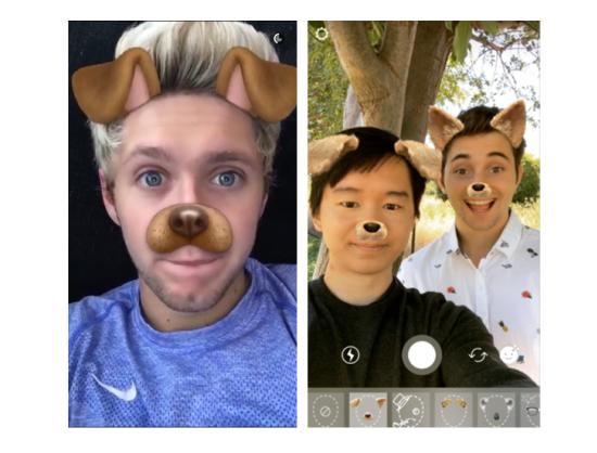 Filtr zvaný puppy ears neboli štěněčí uši na Snapchatu a Instagram Stories