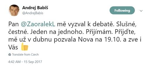 Repro: Twitter účet Andreje Babiše